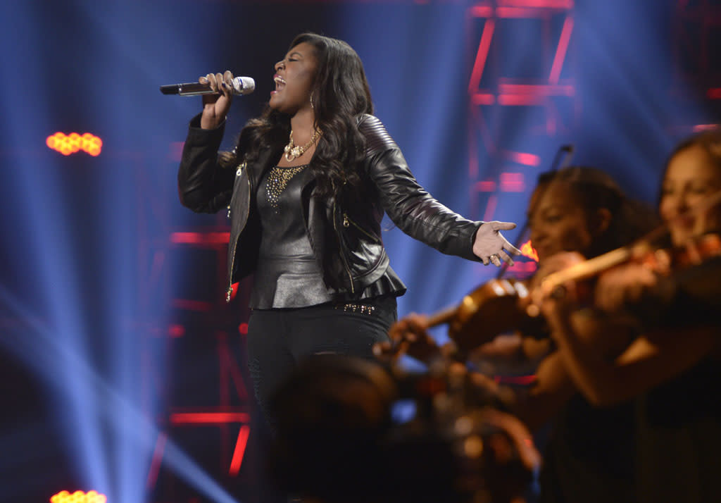 "Candice Glover performs ""I Am Beautiful"" on the Wednesday, May 15 episode of ""American Idol."""