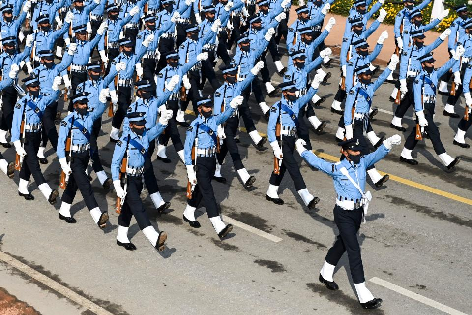 Soldiers march along Rajpath during the Republic Day parade in New Delhi on January 26, 2021. (Photo by Jewel SAMAD / AFP) (Photo by JEWEL SAMAD/AFP via Getty Images)
