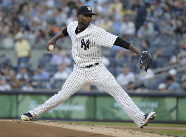 New York Yankees pitcher Domingo German throws during the second inning of a baseball game against the Seattle Mariners at Yankee Stadium Tuesday, June 19, 2018, in New York. (AP Photo/Seth Wenig)
