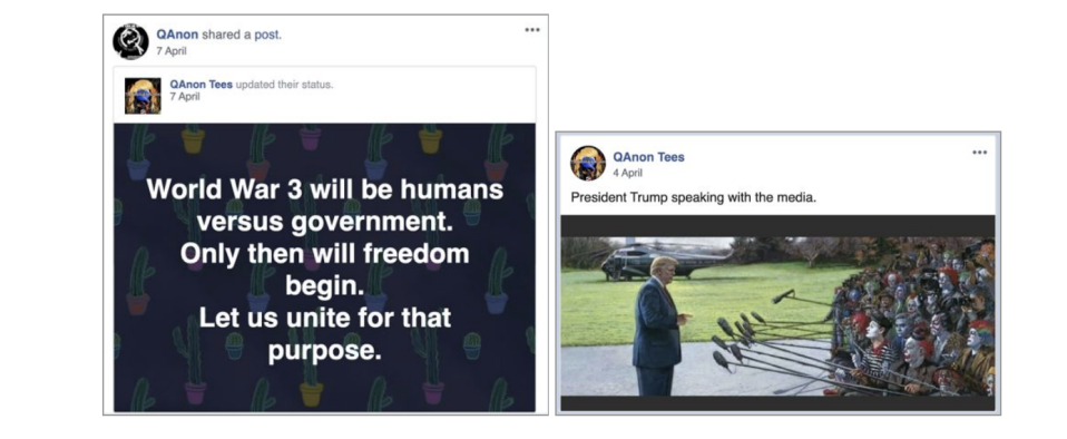 Examples of the posts shared by the QAnon-linked accounts removed by Facebook.