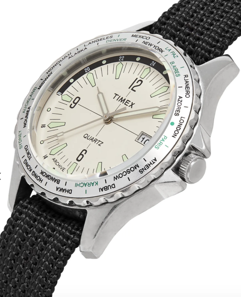 PHOTO: Mr Porter. TIMEX Archive Navi World Time 38mm Stainless Steel and Nylon-Webbing Watch