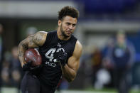 FILE - In this Feb. 27, 2020, file photo, USC wide receiver Michael Pittman runs a drill at the NFL football scouting combine in Indianapolis. Pittman was selected by the Indianapolis Colts in the second round of the NFL football draft. (AP Photo/Michael Conroy, File)