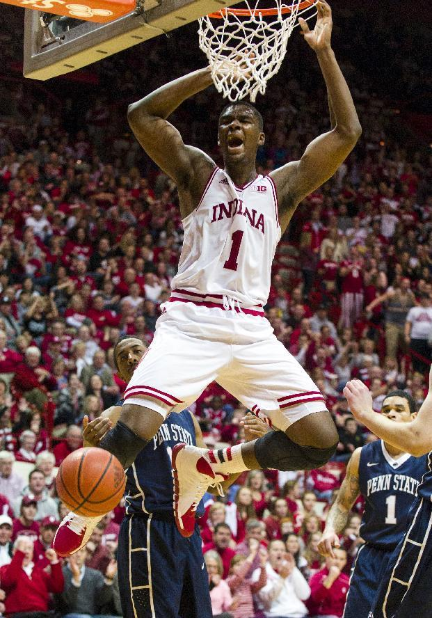 Indiana's Noah Vonleh (1) celebrates after a slam dunk in the second half of an NCAA college basketball game, Wednesday, Feb. 12, 2014, in Bloomington, Ind. Penn State won 66-65. (AP Photo/Doug McSchooler)