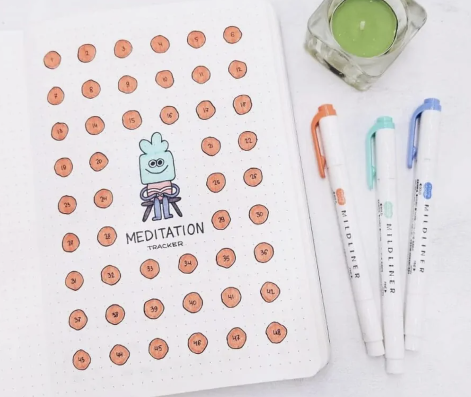 """<p>The benefits of meditation are well-documented, but when our lives get busy, sometimes a regular practice falls by the wayside. With a bullet journal page like this <a href=""""https://mashaplans.com/bullet-journal-for-mental-health/"""" rel=""""nofollow noopener"""" target=""""_blank"""" data-ylk=""""slk:whimsical one by Masha Plans"""" class=""""link rapid-noclick-resp"""">whimsical one by Masha Plans</a>, you can stay accountable to finding time to center yourself. </p>"""