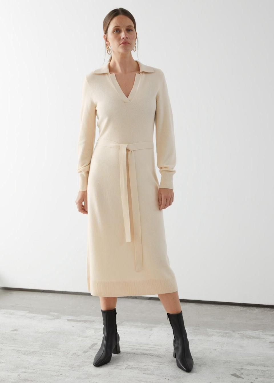 <p>This <span>Belted Wool Knit Polo Midi Dress</span> ($119) will take you from day to night in style and comfort.</p>