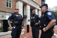 <p>Security personnel from the Department of Homeland Security's Federal Protective Service, watch the vicinity around the Alexandria Federal Court in Alexandria, Va., on day one of Paul Manafort's trial, Tuesday, July 31, 2018. (Photo: Manuel Balce Ceneta/AP) </p>