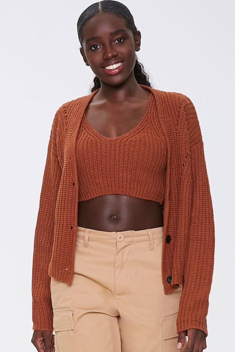 <p>The color of this <span>Forever 21 Cropped Tank Top & Cardigan Set</span> ($32) gives us fall vibes.</p>