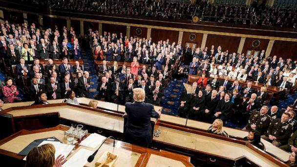 PHOTO: President Donald Trump gives the State of the Union Address in the House Chamber of the Capitol, in Washington D.C., Tuesday, Feb. 4, 2020. (Doug Mills/Pool via REUTERS)