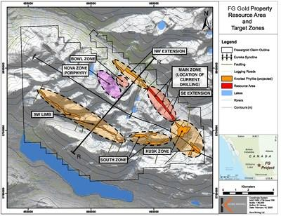 Figure 2 – Property Map with Exploration Zones and Projected Trend (CNW Group/Kore Mining)