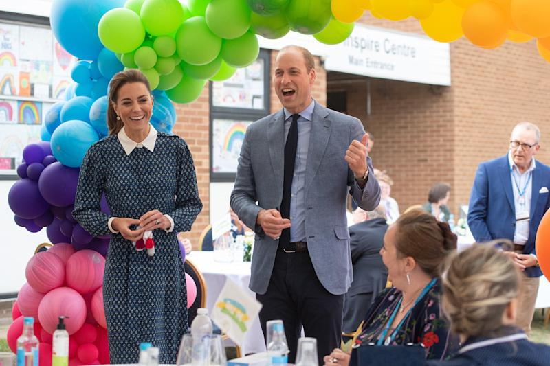 NORFOLK, UNITED KINGDOM - JULY 05: Catherine, Duchess of Cambridge and Prince William, Duke of Cambridge visit to Queen Elizabeth Hospital in King's Lynn as part of the NHS birthday celebrations on July 5, 2020 in Norfolk, England. Sunday marks the 72nd anniversary of the formation of the National Health Service (NHS). The UK has hailed its NHS for the work they have done during the Covid-19 pandemic. (Photo by Joe Giddens - WPA Pool/Getty Images)