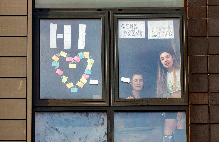 <p>Students trapped in their rooms by Covid outbreaks</p> (PA)