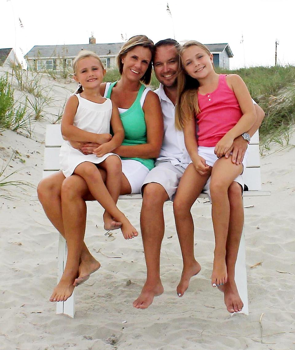 Mum Shelly pictured with husband Mike and daughters Brooke and Brynne. [Photo: SWNS]