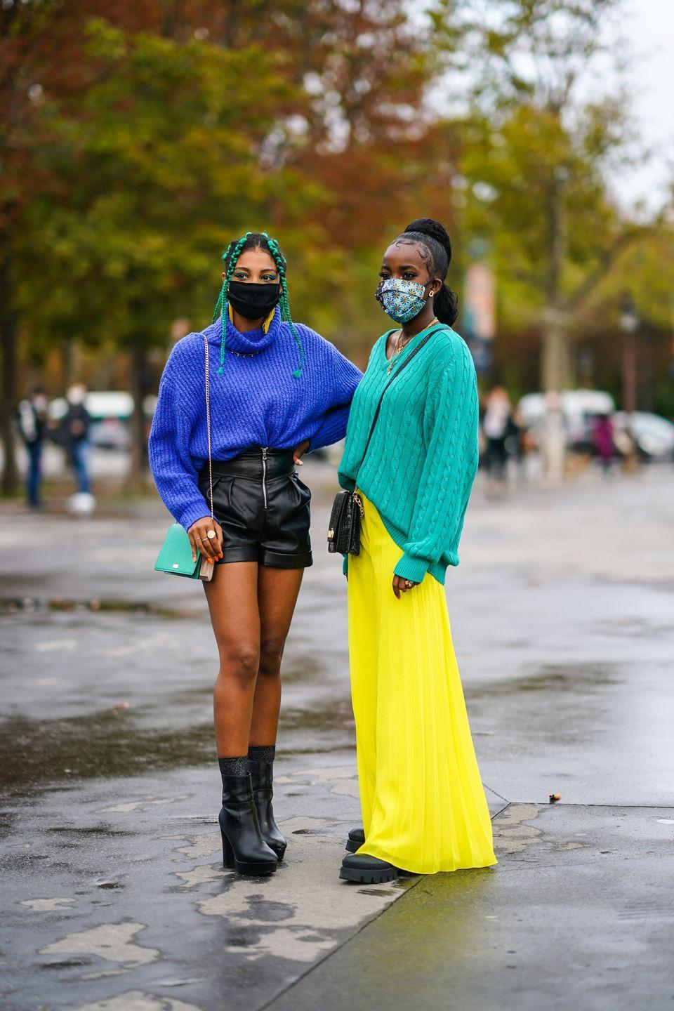 <p>If the weather isn't quite letting us hide away our knitwear yet, opt for brightly coloured, oversized jumpers and cardis. Pair with a leather mini skirt or drape over a floaty maxi dress to keep that spring feeling.</p>
