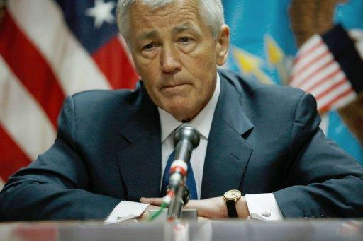 US Defense Secretary Chuck Hagel speaks to the press following his meeting with Afghanistan's President Hamid Karzai in Kabul on March 10, 2013