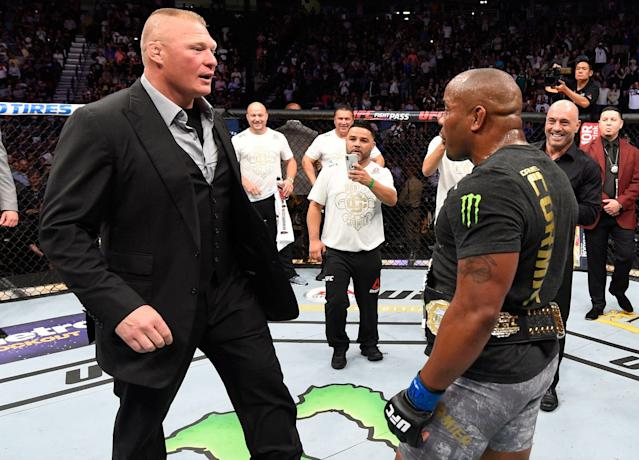 A Daniel Cormier-Brock Lesnar fight has been talked about for months. According to Dana White, it might not even be happening. (Photo by Josh Hedges/Zuffa LLC/Zuffa LLC via Getty Images)