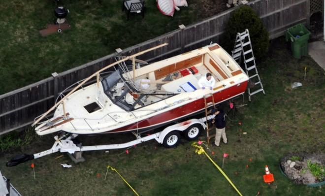 Dzhokhar Tsarnaev reportedly scribbled the note while he lay bleeding inside this boat in a backyard in Watertown, Mass.