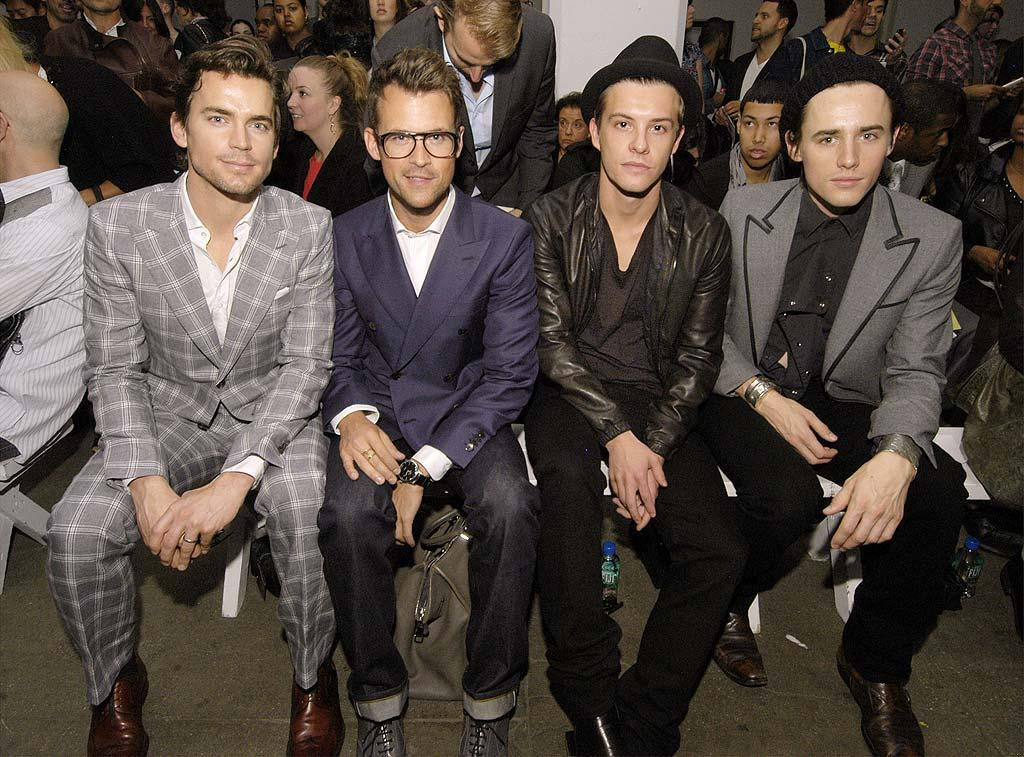 "The fashionable Matt Bomer (""White Collar""), Brad Goreski (""The Rachel Zoe Project""), Xavier Samuel (""Twilight""), and Reeve Carney (Broadway's ""Spider-Man: Turn Off the Dark"") looked dapper as they checked out the latest designs from Simon Spurr. Paul Warner/<a href=""http://www.wireimage.com"" target=""new"">WireImage.com</a> - September 12, 2010"