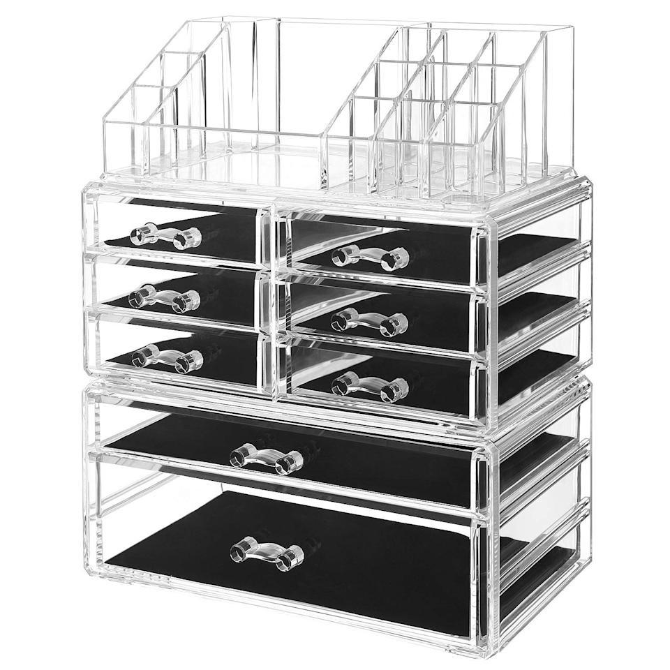 SONGMICS Makeup Organizer 3 Pieces Set Cosmetic Storage Jewelry Display Case 8 Drawers Clear