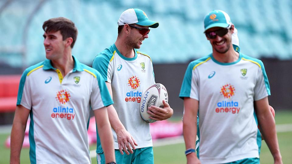 Australia's fast bowlers can be seen here during training for the third Test.