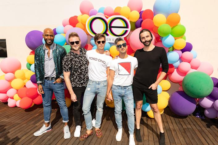 LOS ANGELES, CA - AUGUST 12: (L-R) Karamo Brown, Bobby Berk, Antoni Porowski, Tan France and Jonathan Van Ness attend Netflix's Queer Eye and GLSEN event at NeueHouse Hollywood on August 12, 2018 in Hollywood, California. (Photo by Christopher Polk/Getty Images)