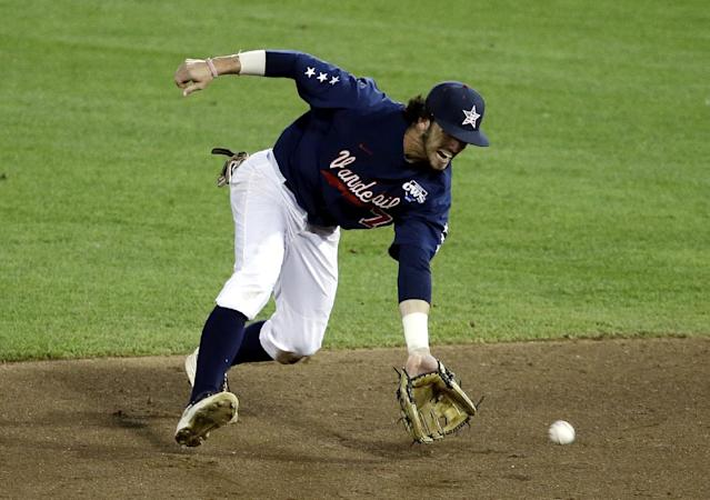 Vanderbilt second baseman Dansby Swanson handles a ground ball in the fifth inning of game one of the best-of-three NCAA baseball College World Series finals against Virginia in Omaha, Neb., Monday, June 23, 2014. (AP Photo/Nati Harnik)