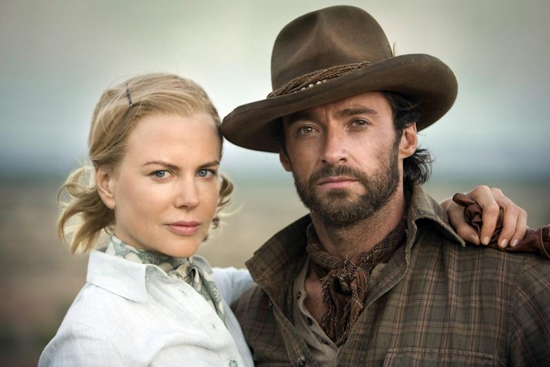 """Hugh Jackman and Nicole Kidman in a scene from the movie """"Australia"""" in the Australian Outback"""