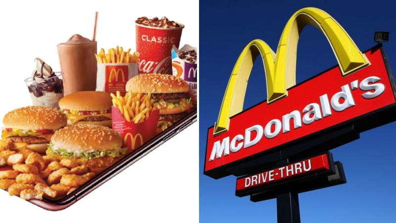 A tray of McDonald's good on the left, a McDonald's sign in the sky on the right.