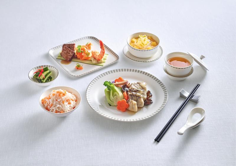 A Singapore Airlines' Business Class meal service