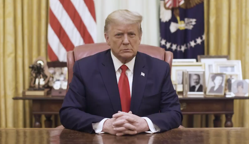 US President Donald Trump is seen speaking in a video posted to Twitter.