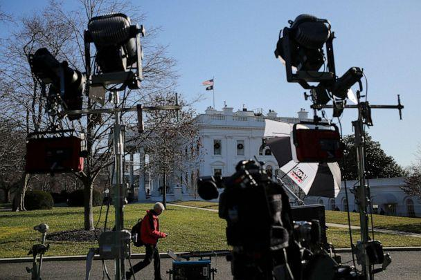 PHOTO: TV cameras are set up by the North Portico of the White House on Dec. 18, 2019 in Washington, D.C., on the day that the House of Representatives will vote on two articles of impeachment against President Donald Trump. (Oliver Contreras/Sipa via USA Today Network)