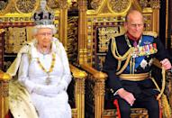 <p> Queen Elizabeth II sits with Prince Philip as she delivers her speech during the State Opening of Parliament in the House of Lords at the Palace of Westminster on June 4, 2014.</p>
