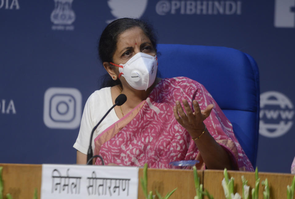 NEW DELHI, INDIA  JUNE 18: Minister of Finance of India, Nirmala Sitharaman addresses a press conference in New Delhi. (Photo by Pankaj Nangia/India Today Group/Getty Images)