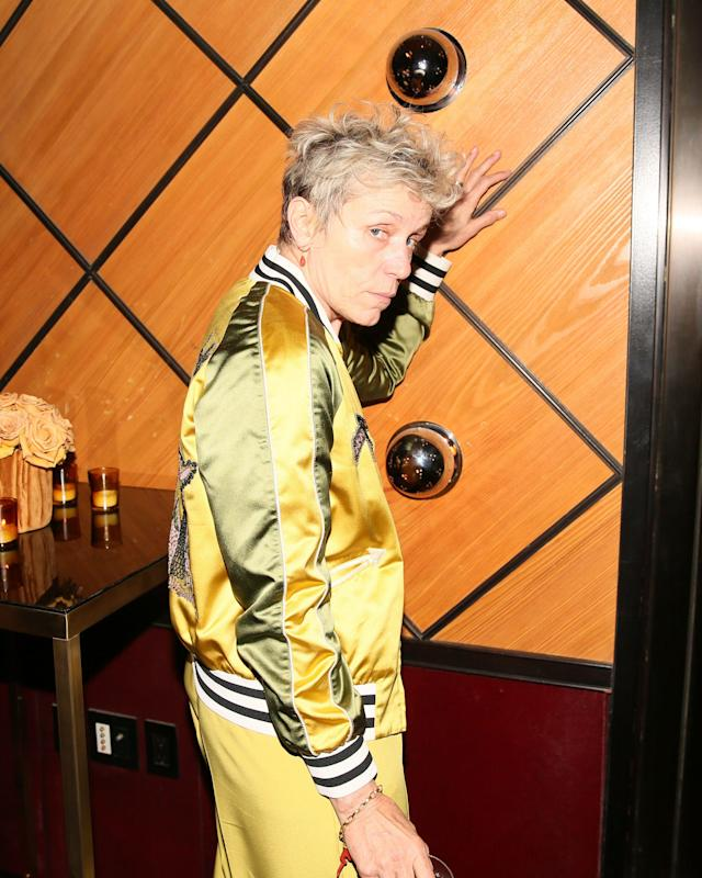 <p>Frances McDormand<br> The Standard and Olivier Rousteing host The Boom Boom Afterparty, New York, USA – 07 May 2018<br> (Photo: Shutterstock) </p>