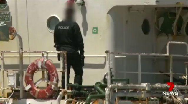 A 50-metre ex-Japanese whaling vessel was intercepted in December. Picture: 7 News