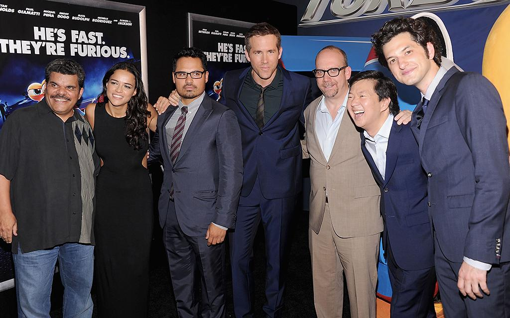 "NEW YORK, NY - JULY 09:  Luis Guzman, Michelle Rodriguez,Michael Pena, Ryan Reynolds, Paul Giamatti, Ken Jeong and director David Soren attend the ""Turbo"" New York Premiere at AMC Loews Lincoln Square on July 9, 2013 in New York City.  (Photo by Jamie McCarthy/WireImage)"