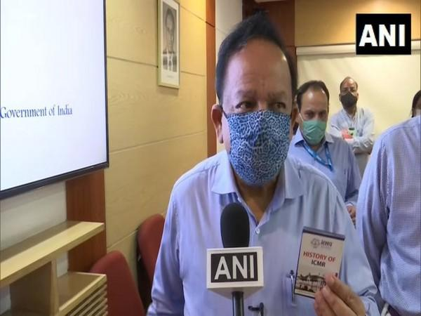Union Health Minister Dr Harsh Vardhan talking to ANI in New Delhi on Monday. Photo/ANI