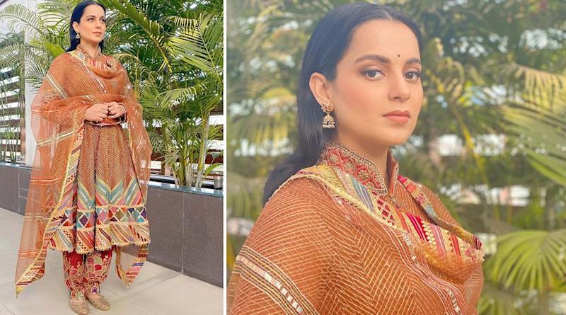 Kangana Ranaut Stirs A Desi Style Storm By Opting For An Orange Tulle Suit From The House Rimple & Harpreet Narula (View Pics)