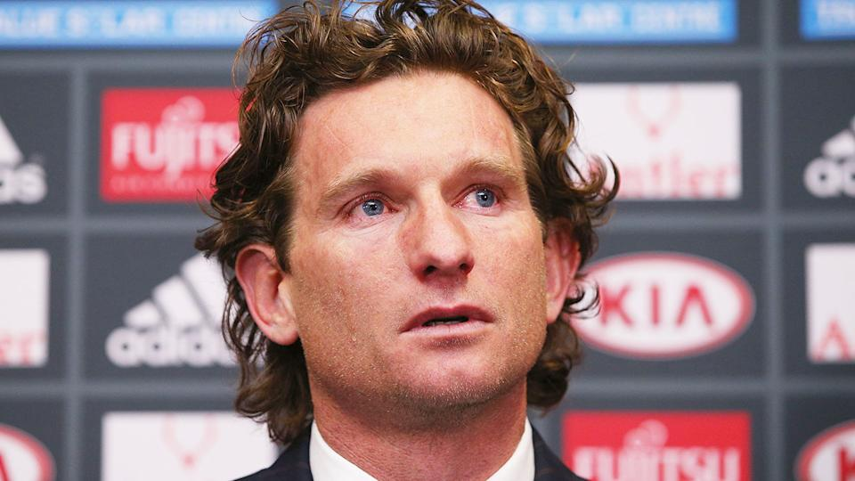 Pictured here, James Hird speaks during the Essendon supplements scandal.