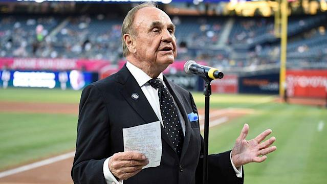 """Lengendary sports broadcaster Dick Enberg died Thursday in La Jolla, California at age 82, according to <a class=""""link rapid-noclick-resp"""" href=""""/ncaaf/players/259699/"""" data-ylk=""""slk:Bryce Miller"""">Bryce Miller</a> of the San Diego Union-Tribune. (AP)"""