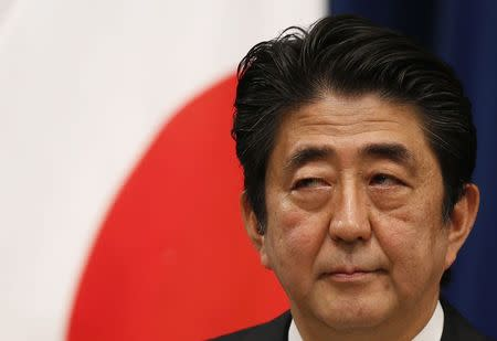 Japan's Prime Minister Shinzo Abe attends a news conference at his official residence in Tokyo