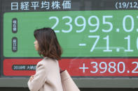 A woman walks by an electronic stock board of a securities firm in Tokyo, Wednesday, Dec. 18, 2019. Asian shares were mostly higher Wednesday after record highs on Wall Street amid investor optimism about an interim U.S.-China trade deal announced last week. (AP Photo/Koji Sasahara)