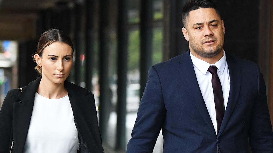 Jarryd Hayne, pictured here at Downing Centre District Court with his wife.