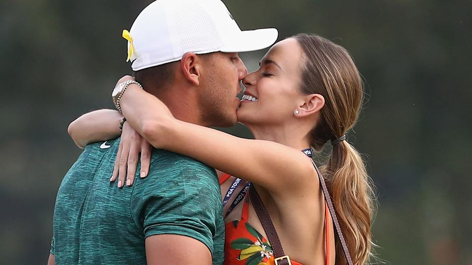 Brooks Koepka and Jena Sims, pictured here at the 2018 PGA Championship.