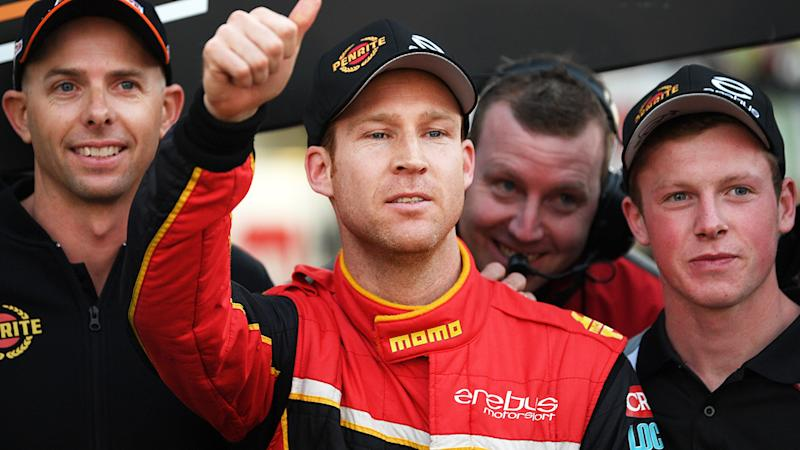 Erebus Motorsport Supercars driver David Reynolds is pictured giving a thumbs up.