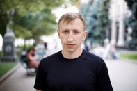 Vitaly Shishov, head of a Kyiv-based organisation that helps Belarusians fleeing persecution, is seen in Kyiv