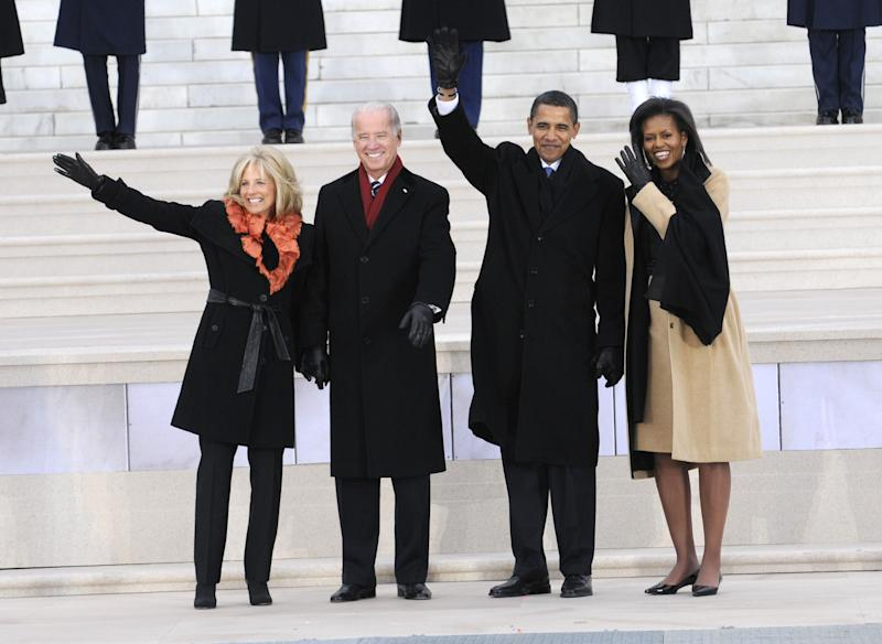 "Jill and Joe Biden and Barack and Michelle Obama wave to the crowd at ""We Are One: The Obama Inaugural Celebration At The Lincoln Memorial"" on Jan. 18th 2009."