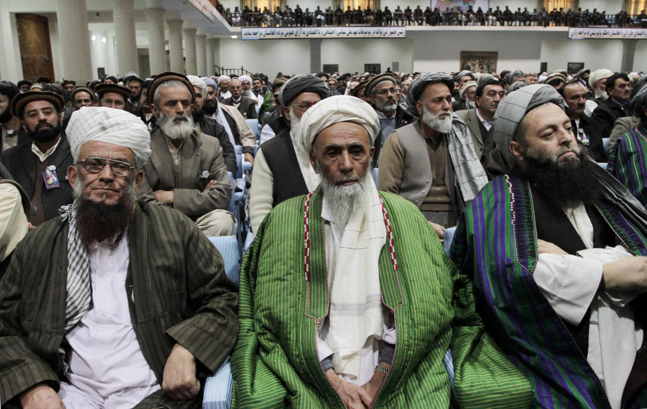 "Participants listen to Afghan President Hamid Karzai, not seen, deliver a speech during the opening of the ""loya jirga,"" or grand council in Kabul, Afghanistan, Wednesday, Nov. 16, 2011. Afghan President Hamid Karzai called Wednesday on elders assembled for a national conference to help create a fair framework for relations with the U.S. and find a path to peace for the turbulent country. (AP Photo/Musadeq Sadeq)"
