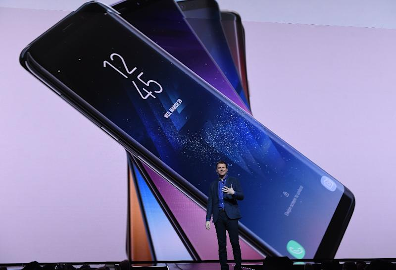 Samsung's top-line new handsets, the Galaxy S8 and S8+, were introduced in New York by Justin Denison, senior vice president of product strategy for the South Korean giant (AFP Photo/Timothy A. CLARY                  )