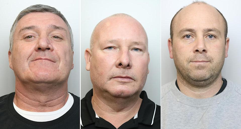 From left to right: Burglars John Barlow, Vincent Ball and Thomas Mee have been jailed (PA)
