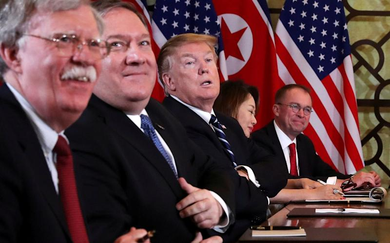 Pompeo, second from left, said thatthe presence of US diplomatic staff at the embassy has become a constraint on US policy - REUTERS